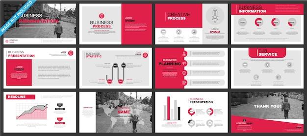 ビジネスパワーポイントプレゼンテーションは、インフォグラフィック要素からテンプレートをスライドさせます。