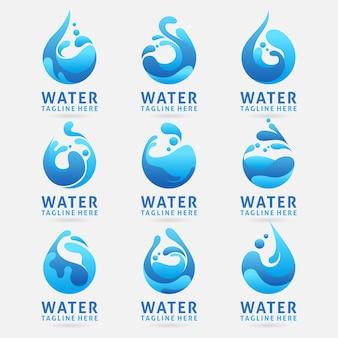 スプラッシュ効果を持つ水のロゴデザインのコレクション