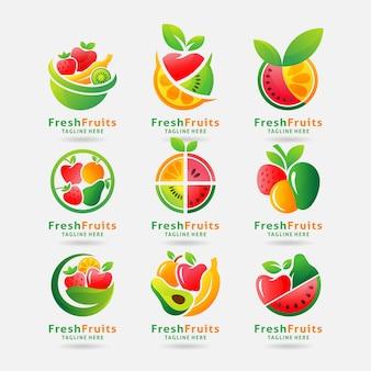 Коллекция свежих фруктов с логотипом