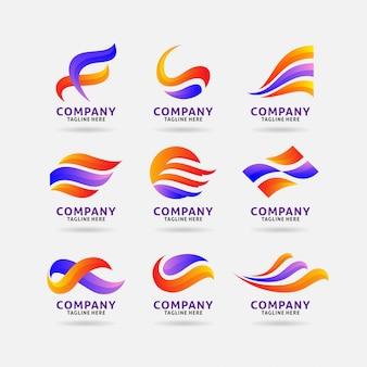 抽象的な波状ロゴのコレクション
