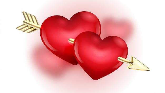 赤いハートのバレンタインの日カードデザインテンプレート。