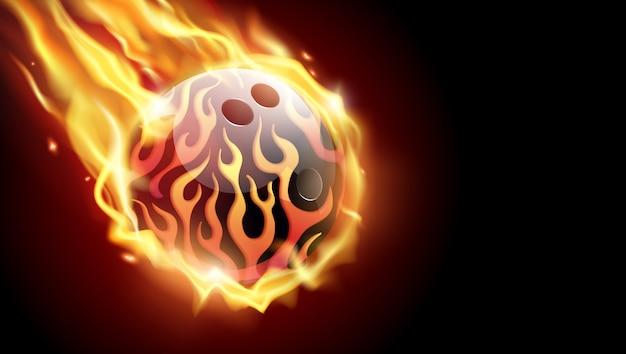 黒の背景に燃えるようなボウリングボール