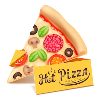 ピザの三角形のスライスのアイコンが白い背景で隔離。