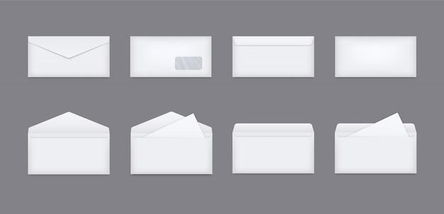 白い現実的な封筒のセット