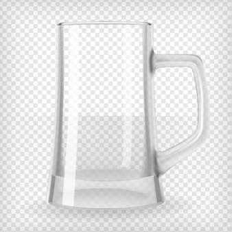空のビールジョッキ。リアルな透明ベクトル図