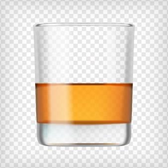 スコッチウイスキーのグラス。アルコールのショット飲み物が付いている短いガラス。透明な写真の写実的なベクトルイラスト。