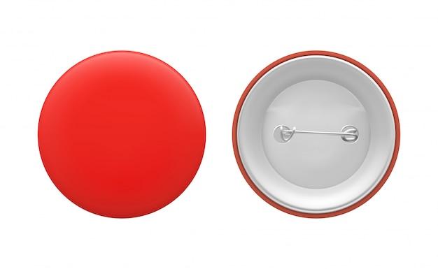 空白の赤い丸ピン。空のバッジテンプレート、前面と背面。ベクトルイラスト