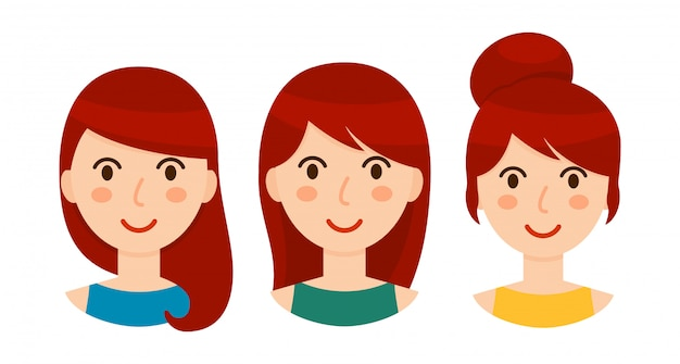 さまざまなヘアスタイルとブルネットの女性のアバターセット