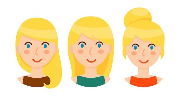 さまざまなヘアスタイルを持つ金髪の女性のアバターセット