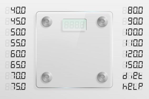さまざまな重量オプションで設定されたガラススケールテンプレート
