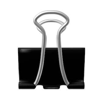 黒いバインダーペーパークリップ。紙ファスナーは、白い背景で隔離。写実的なベクトルイラスト。