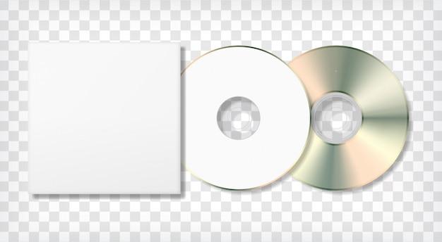 空のディスクとケースのテンプレート。写実的な空白のモックアップ。