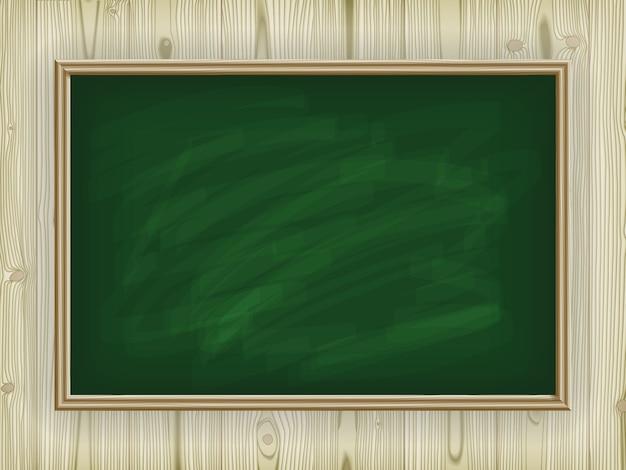Зеленая школьная доска на деревянном фоне