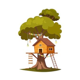 遊びやパーティーのための木の家。