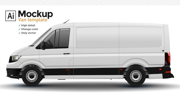 Белый реалистичный фургон шаблон. изменить цвет кузова.