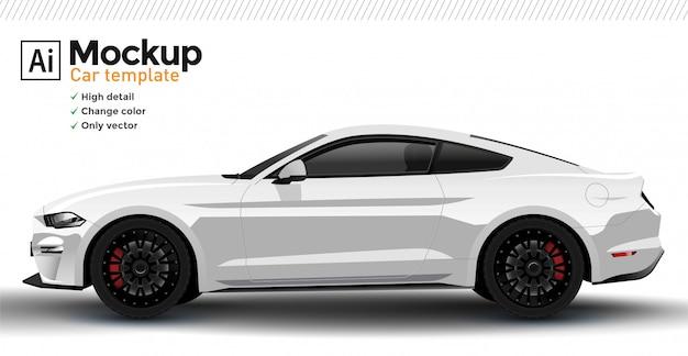 Белый реалистичный спортивный автомобиль шаблон. изменить цвет кузова.