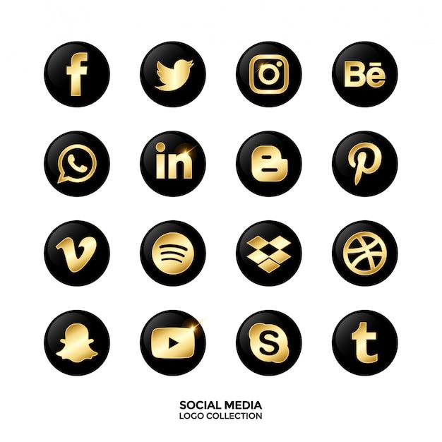 ソーシャルメディアのロゴのコレクション。ゴールドグラデーションカラー。