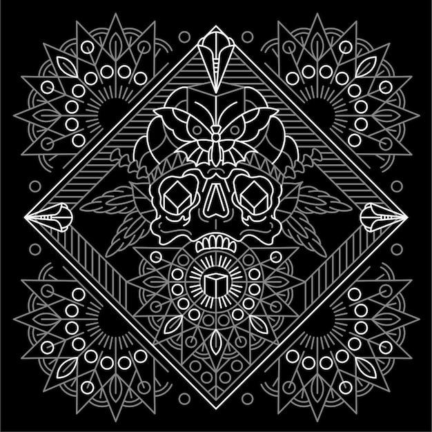 マンダラと頭蓋骨。タトゥーの幾何学的な。