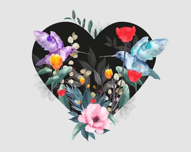 バレンタインデーの花柄。鳥、花、葉と心。