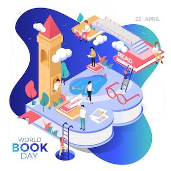 Счастливый мир книжного дня. изометрическая иллюстрация.