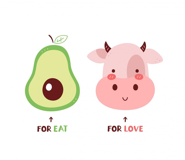Авокадо для еды, корова для любви. изолированные на белом. дизайн карточки иллюстрации персонажа из мультфильма вектора, простой плоский стиль. ешьте фрукты, люблю животных концепции. веганский, вегетарианская открытка, дизайн плаката