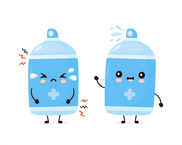かわいい幸せな笑顔と悲しい消毒スプレーボトル。漫画キャラクターイラストアイコンデザイン。白い背景で隔離