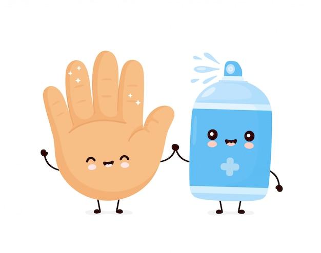 かわいい幸せな笑顔の消毒スプレーボトルときれいな人間の手のひら。漫画キャラクターイラストアイコンデザイン。白い背景で隔離