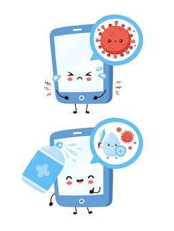 Милый грустный и счастливый смартфон. антисептическое распылитель дезинфицирует экран. дизайн значка иллюстрации персонажа из мультфильма. изолированный на белой предпосылке