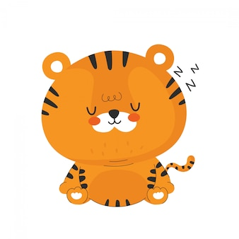 かわいい面白い眠る虎。漫画のキャラクターイラストアイコンデザイン。分離されました。