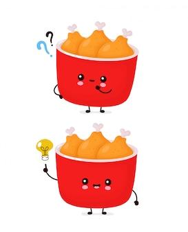 Милое счастливое смешное ведро жареной курицы с вопросительным знаком и лампочкой идеи. дизайн значка иллюстрации персонажа из мультфильма. изолированный