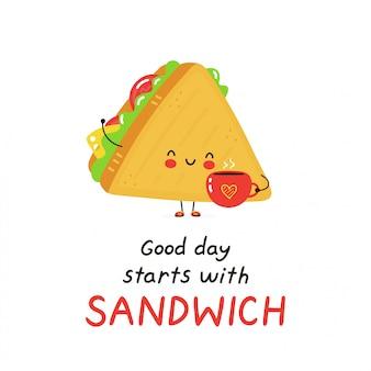コーヒーカップとかわいい幸せなサンドイッチ。白で隔離。ベクトル漫画キャラクターイラストデザイン、シンプルなフラットスタイル。良い日はサンドイッチカードから始まります。朝食食品のコンセプト