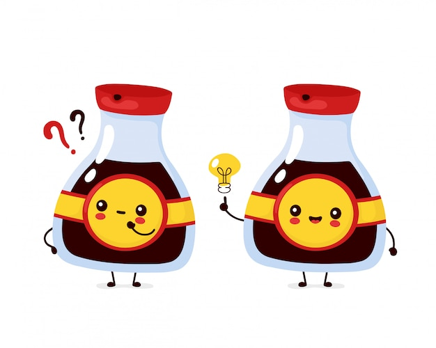 Милая счастливая смешная бутылка соевого соуса с вопросительным знаком и электрической лампочкой. дизайн значка иллюстрации персонажа из мультфильма. изолированный