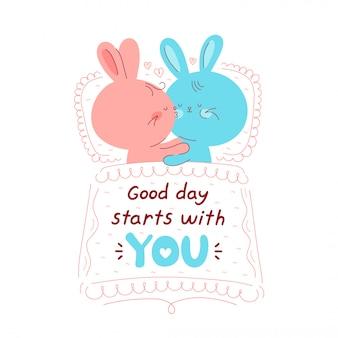 かわいい幸せなウサギのカップルは悪い状態で寝ます。良い日はあなたのカードから始まります。白で隔離。ベクトル漫画キャラクターイラストデザイン、シンプルなフラットスタイル。ウサギのキス、愛、ロマンチックなコンセプト