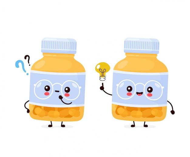 Милая счастливая смешная бутылка пилюльки с вопросительным знаком и лампочкой идеи. дизайн значка иллюстрации персонажа из мультфильма. изолированный