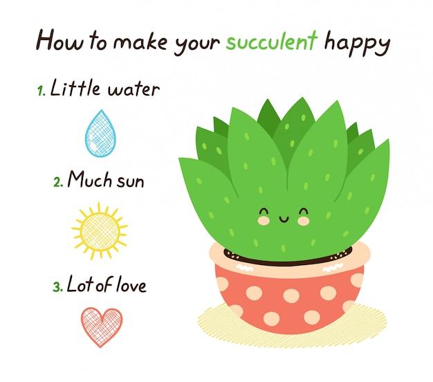 Как сделать свою сочную счастливую открытку. изолированные на белом. дизайн иллюстрации персонажа из мультфильма вектора, простой плоский стиль. концепция суккулентных растений