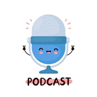 Милый счастливый смешной студийный подкаст микрофон логотип. дизайн значка иллюстрации персонажа из мультфильма. изолированный