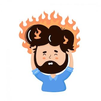 頭を燃やすと若い男。ストレス、バーンアウトのコンセプト。ベクトルフラット漫画キャライラスト。分離されました。