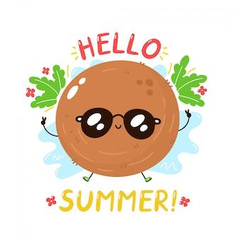 Милый счастливый кокос в солнцезащитные очки. привет летняя открытка. изолированные. векторная иллюстрация мультипликационный персонаж