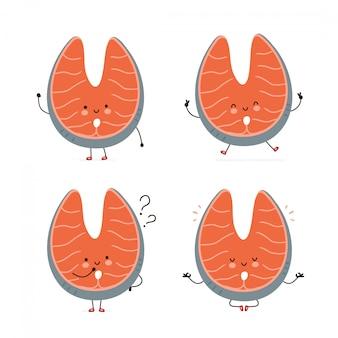 Симпатичные счастливый красная рыба лосось набор символов. изолированные на белом. дизайн иллюстрации персонажа из мультфильма вектора, простой плоский стиль. красная рыба лосось ходить, прыгать, думать, медитировать концепция