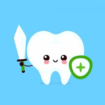 剣と盾のキャラクターが強くかわいい健康的な幸せな歯。フラット漫画イラストアイコンデザイン。白い背景で隔離されました。健康な人間の歯、歯を保護、歯科医療のコンセプト