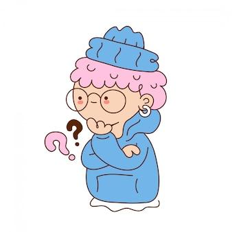 Милая смешная молодая девушка с вопросительным знаком. дизайн значка иллюстрации персонажа из мультфильма. изолированный на белой предпосылке