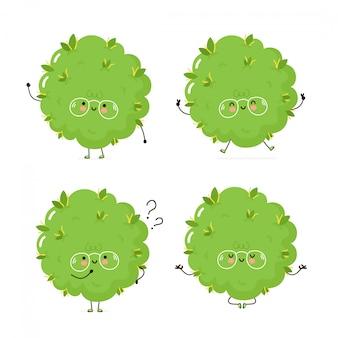 Симпатичные счастливые сорняки бутон набор символов. изолированные на белом. дизайн иллюстрации персонажа из мультфильма вектора, простой плоский стиль. марихуана конопля бутон ходить, тренироваться, думать, медитировать концепция