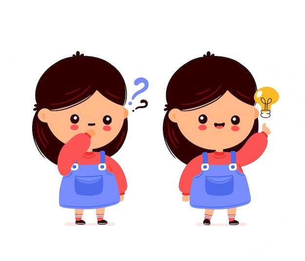 Милая счастливая смешная девушка с вопросительным знаком и электрической лампочкой. дизайн значка иллюстрации персонажа из мультфильма. изолированный на белой предпосылке