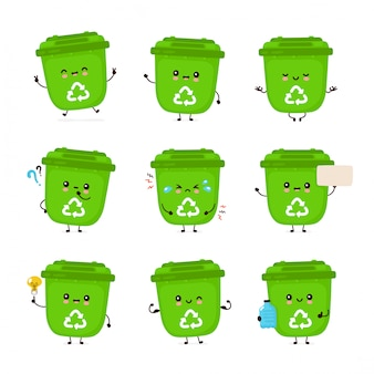 かわいい幸せな笑顔のゴミ箱セットのコレクション。白い背景で隔離されました。ゴミのリサイクル、分別されたガベージバンドルのコンセプト