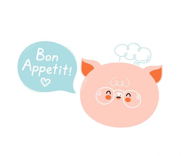 Милый счастливый усмехаясь шеф-повар свиньи с пузырем речи. приятного аппетита, слоган. изолированные на белом. дизайн иллюстрации персонажа из мультфильма вектора, простой плоский стиль. симпатичная свинья поварская карта, концепция плаката