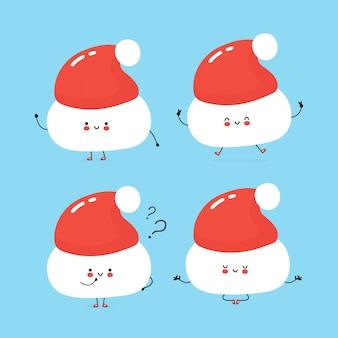 かわいい幸せなクリスマス帽子文字セットのコレクション。白で隔離。ベクトル漫画キャラクターイラストデザイン、シンプルなフラットスタイル。クリスマス帽子散歩、ジャンプ、思考、瞑想の概念