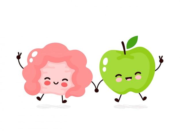 かわいい幸せな笑顔の腸とリンゴのキャラクター。フラット漫画イラストアイコンデザイン。白い背景で隔離されました。腸、アップルフルーツキャラクターコンセプト