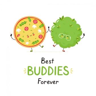 かわいい幸せな笑顔のピザと雑草の芽の友人。白で隔離。ベクトル漫画キャラクターイラストデザイン、シンプルなフラットスタイル。最高の仲間永遠カード