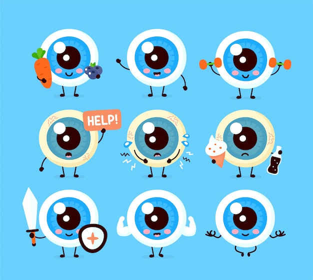 かわいい健康的な幸せと病気の悲しい人間の眼球オルガンキャラクターセットのコレクション。フラット漫画イラストアイコンデザイン。白い背景で隔離されました。アイケアキャラクターコンセプト