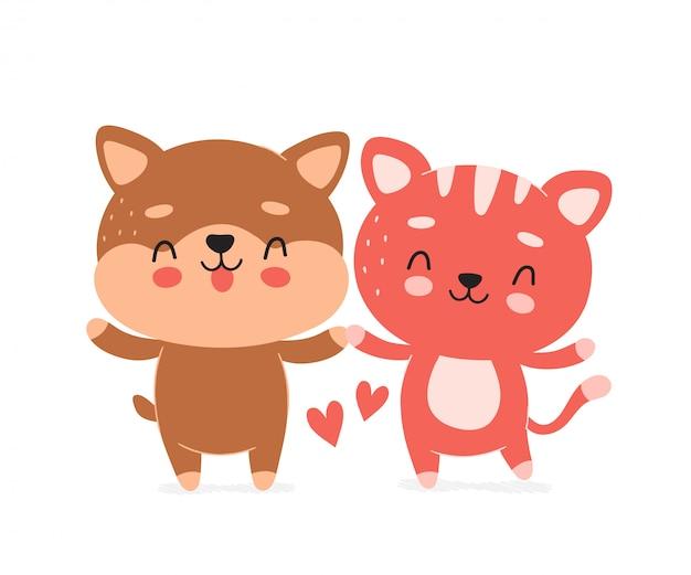 Милый счастливый улыбающийся характер собаки и кошки. карикатура иллюстрации, концепция дружбы.